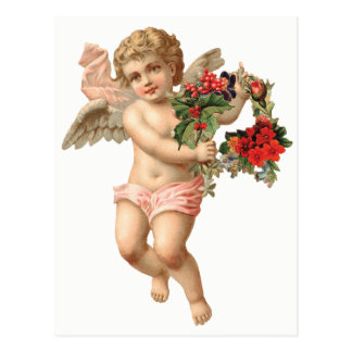 Vintage Christmas, Victorian Angel w Floral Wreath Postcard