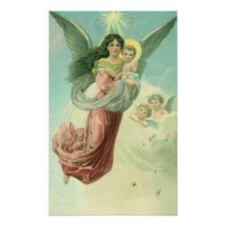 Vintage Christmas, Victorian Angel with Baby Jesus Poster