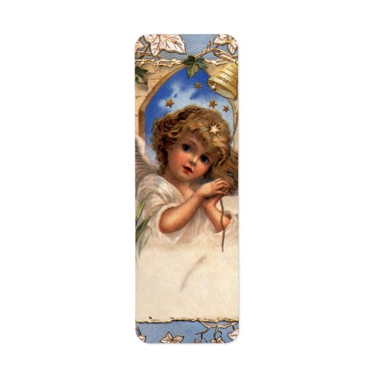 Vintage Christmas, Victorian Angel with Gold Bells