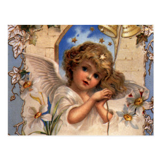Vintage Christmas, Victorian Angel with Gold Bells Postcard