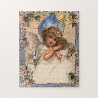 Vintage Christmas, Victorian Angel with Gold Bells Puzzle