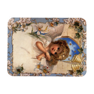 Vintage Christmas, Victorian Angel with Gold Bells Rectangular Photo Magnet