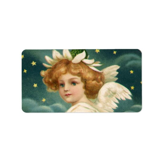 Vintage Christmas, Victorian Angel with Gold Stars Label
