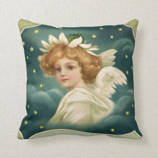 Vintage Christmas, Victorian Angel with Gold Stars Throw Pillow