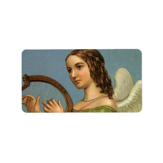 Vintage Christmas, Victorian Angel with Music Harp
