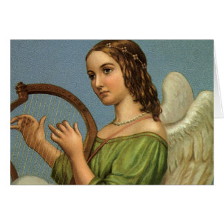 Vintage Christmas, Victorian Angel with Music Harp Card