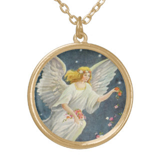 Vintage Christmas Victorian Angel with Stars Roses Gold Plated Necklace