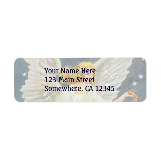 Vintage Christmas Victorian Angel with Stars Roses Return Address Label