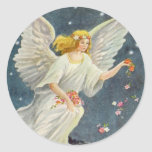 Vintage Christmas Victorian Angel with Stars Roses Round Stickers