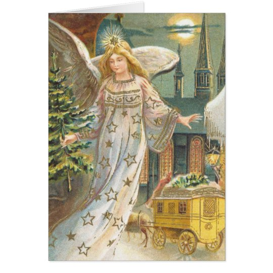 Vintage Christmas, Victorian Angel with Tree Card