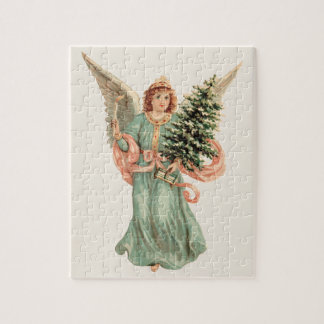 Vintage Christmas, Victorian Angel with Tree Jigsaw Puzzle