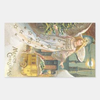 Vintage Christmas Victorian Angel with Tree Rectangular Sticker
