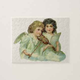 Vintage Christmas, Victorian Angels Music Violin Jigsaw Puzzle