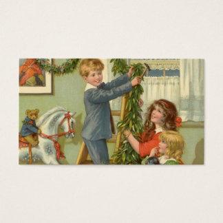 Vintage Christmas, Victorian Children Decorating Business Card