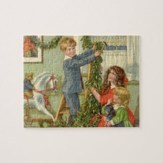 Vintage Christmas, Victorian Children Decorating Jigsaw Puzzle