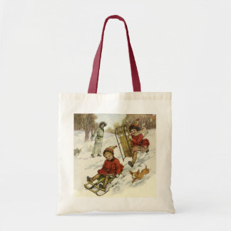 Vintage Christmas, Victorian Children Sled in Snow Budget Tote Bag