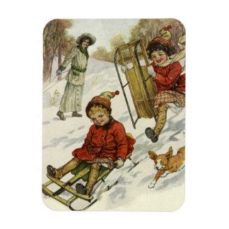 Vintage Christmas, Victorian Children Sled in Snow Rectangular Photo Magnet