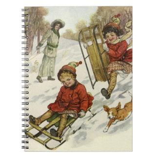 Vintage Christmas Victorian Children Sledding Note Book