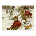 Vintage Christmas, Victorian Children Sledding Post Card