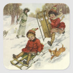 Vintage Christmas, Victorian Children Sledding Sticker