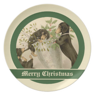 Vintage Christmas Victorian cute dachshund dogs Plate