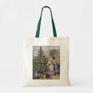 Vintage Christmas, Victorian Family Around Tree Budget Tote Bag