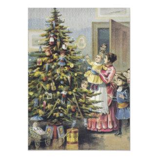 Vintage Christmas, Victorian Family Around Tree Card