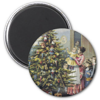 Vintage Christmas, Victorian Family Around Tree Magnet