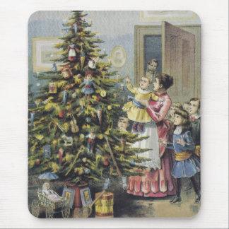 Vintage Christmas, Victorian Family Around Tree Mouse Pad