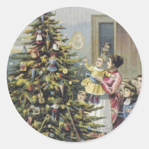 Vintage Christmas, Victorian Family Around Tree Round Sticker