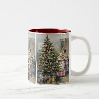 Vintage Christmas, Victorian Family Around Tree Two-Tone Coffee Mug