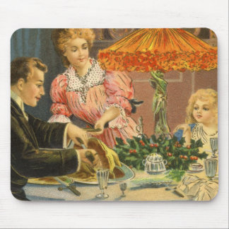 Vintage Christmas, Victorian Family Dinner Mouse Pad