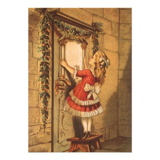 Vintage Christmas, Victorian Girl Hanging Garland Personalized Announcements