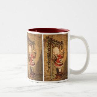 Vintage Christmas, Victorian Girl Hanging Garland Two-Tone Coffee Mug
