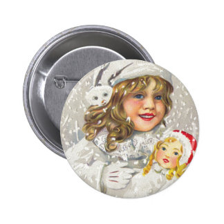 Vintage Christmas Victorian Girl with Doll in Snow Pins