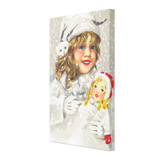 Vintage Christmas Victorian Girl with Doll in Snow Canvas Print