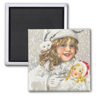 Vintage Christmas Victorian Girl with Doll in Snow Square Magnet