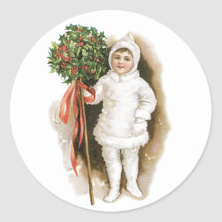 Vintage Christmas, Victorian Girl with Holly Classic Round Sticker
