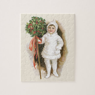 Vintage Christmas, Victorian Girl with Holly Jigsaw Puzzle