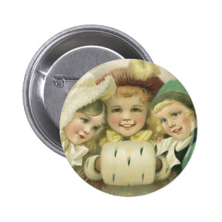 Vintage Christmas Victorian Girls Children Button