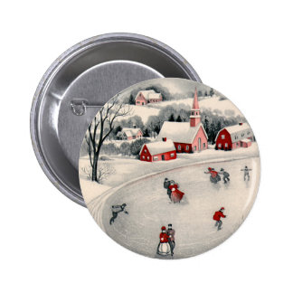 Vintage Christmas, Victorian Ice Skaters on Pond 2 Inch Round Button