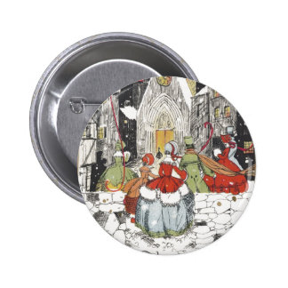 Vintage Christmas Victorian People at Church Button