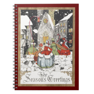 Vintage Christmas Victorian People at Church Note Book
