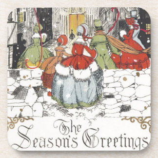 Vintage Christmas Victorian People Going to Church Beverage Coasters