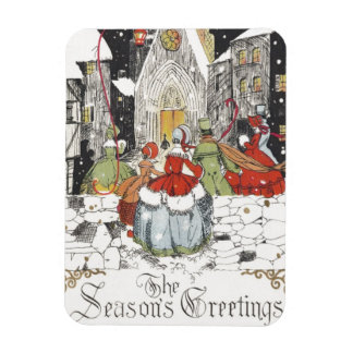 Vintage Christmas Victorian People Going to Church Rectangular Photo Magnet
