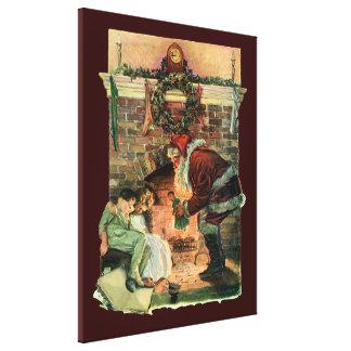 Vintage Christmas, Victorian Santa Claus Children Canvas Prints