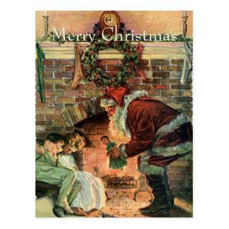 Vintage Christmas, Victorian Santa Claus Children Postcard