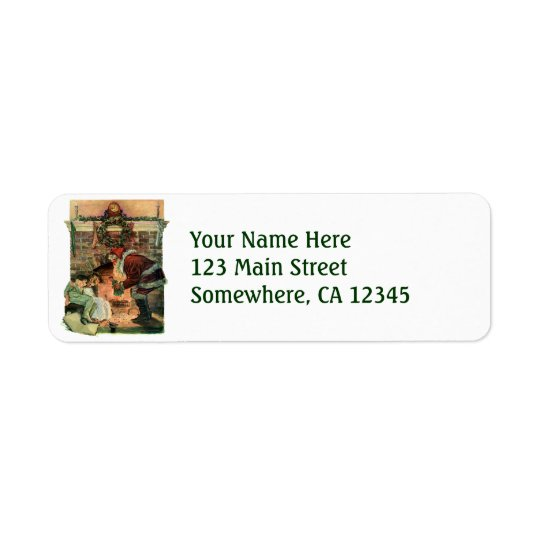 Vintage Christmas, Victorian Santa Claus Children Return Address Label