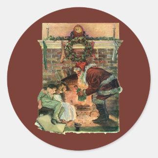 Vintage Christmas, Victorian Santa Claus Children Round Sticker