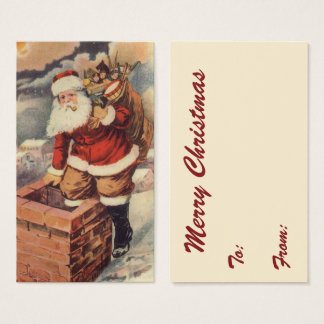 Vintage Christmas, Victorian Santa Claus Chimney Business Card